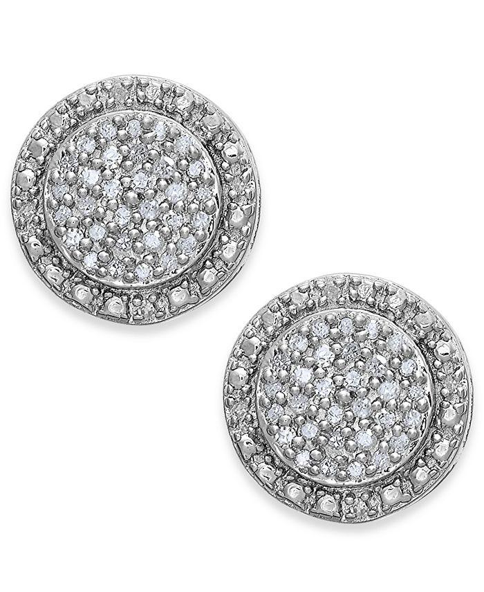 Macy's - Diamond Pavé Stud Earrings in Sterling Silver (1/4 ct. t.w.)