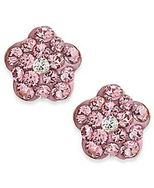 Children's Pink Crystal Flower Stud Earrings in 14k Gold
