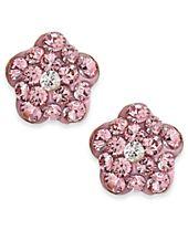 Children's Pink Crystal Flower Stud Earrings in 14k Gold