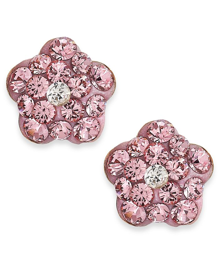 Macy's - Children's Pink Crystal Flower Stud Earrings in 14k Gold