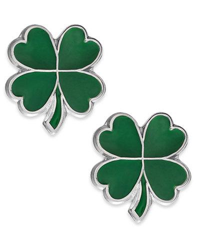 Children's Four-Leaf Clover Stud Earrings in Sterling Silver