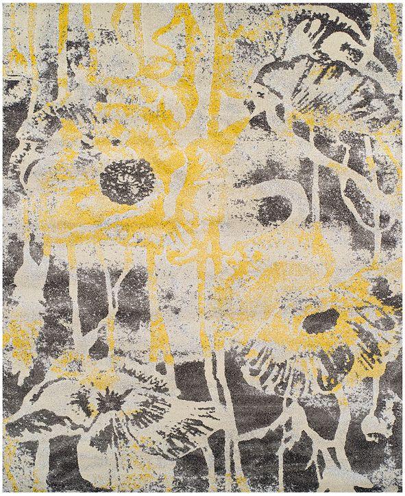 "Macy's Fine Rug Gallery Neo Grey Floral Lemon 9'6"" x 13'2"" Area Rug"