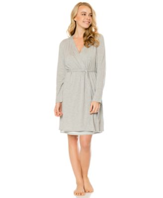 Bump In The Night™ Two-Piece Robe & Striped Nursing Nightgown Set ...