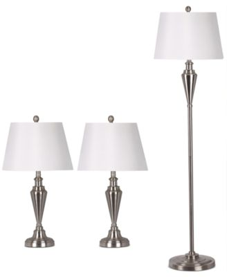 Exceptional Adesso Satin Steel Set Of Two Table Lamps And 1 Floor Lamp