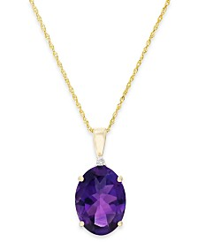 Amethyst (5 ct. t.w.) and Diamond Accent Pendant Necklace in 14k Gold