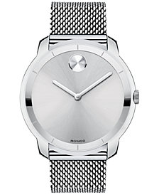 Movado Unisex Swiss Bold Stainless Steel Mesh Bracelet Watch 44mm 3600260