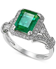 Brasilica by EFFY® Emerald (2-1/5 ct. t.w.) and Diamond (1/3 ct. t.w.) Ring in 14k White Gold, Created for Macy's