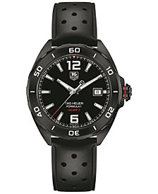 TAG Heuer Men's Swiss Automatic Formula 1 Calibre 5 Black Perforated Rubber Strap Watch 41mm
