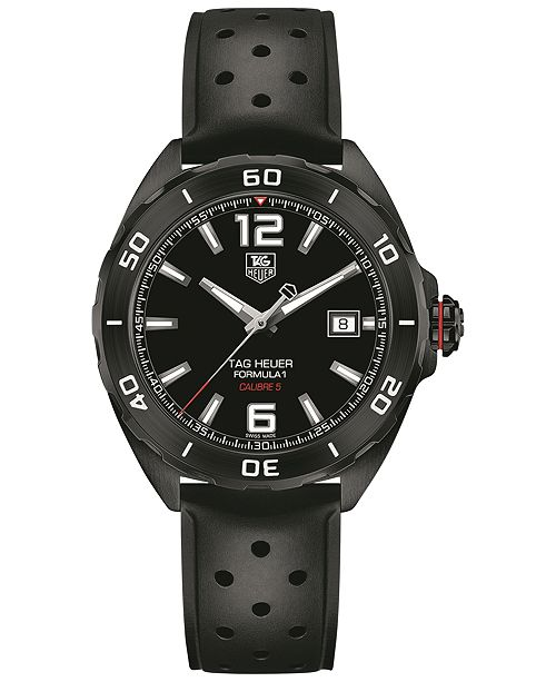 5220304bc32 ... TAG Heuer Men s Swiss Automatic Formula 1 Calibre 5 Black Perforated  Rubber Strap Watch 41mm ...