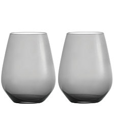 Vera Wang Wedgwood Hue Set of Two Stemless Red Wine Glasses