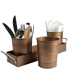 Masonware Antique Copper Finish 4-Piece Picnic Caddy Set