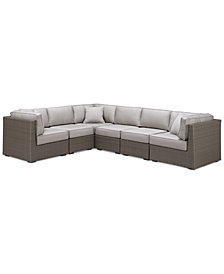 CLOSEOUT! South Harbor Outdoor 6-Pc. Modular Seating Set (3 Corner Units and 3 Armless Units), Created for Macy's
