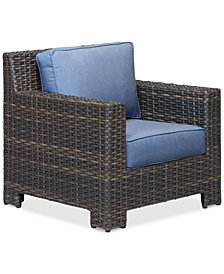 Viewport Wicker Outdoor Club Chair with Sunbrella® Cushions, Created for Macy's
