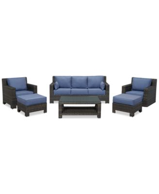 Viewport Outdoor Wicker 6-Pc. Seating Set (1 Sofa, 1 Club Chair, 1 Swivel Glider, 2 Ottomans and 1 Coffee Table), Created for Macy's