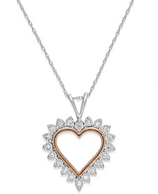 Diamond Heart Pendant Necklace in 10k White Gold and Pink Rhodium (1/10 ct. t.w.)