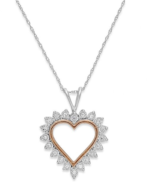 Macy's Diamond Heart Pendant Necklace in 10k White Gold and Pink Rhodium (1/10 ct. t.w.)