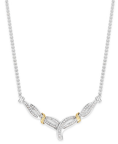 Diamond Crossover V-Necklace in Sterling Silver and 14k Gold (1/4 ct. t.w.)