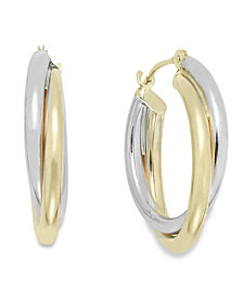 Interlocking Hoop Earrings in 10k White and 10k Yellow Gold, 19mm
