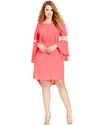 Love Squared Trendy Plus Size Bell-Sleeve Crochet-Trim Dress ...