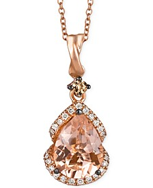 Peach Morganite (1-1/5 ct. t.w.) and Diamond (1/5 ct. t.w.) Pendant Necklace in 14k Rose Gold, Created for Macy's