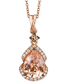 Le Vian Peach Morganite (1-1/5 ct. t.w.) and Diamond (1/5 ct. t.w.) Pendant Necklace in 14k Rose Gold, Created for Macy's