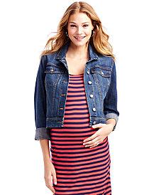 Jessica Simpson Cropped Maternity Jean Jacket, Dark Wash