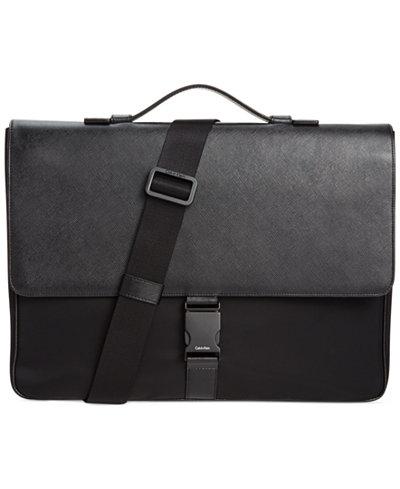 Calvin Klein Nylon & Saffiano Leather Briefcase