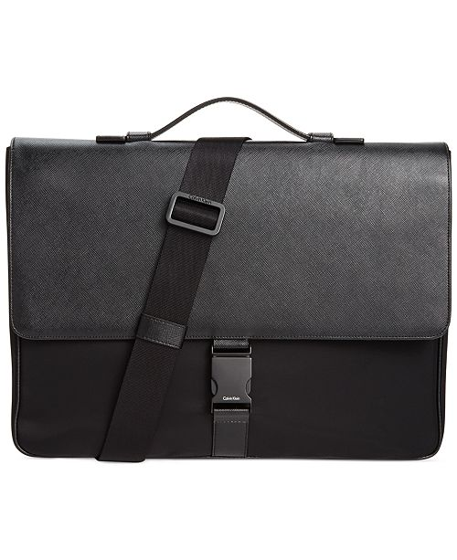 7c7c41d0a0eb Calvin Klein Nylon & Saffiano Leather Briefcase & Reviews - All ...