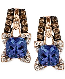 Le Vian Blueberry Tanzanite (9/10 ct. t.w.) and Diamond (3/8 ct. t.w.) Earrings in 14k Rose Gold, Created for Macy's