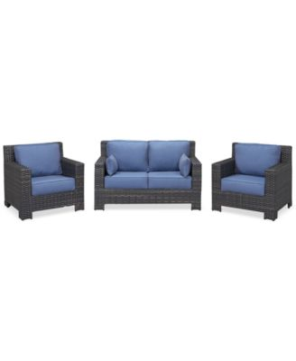 Viewport Outdoor Wicker 3-Pc. Seating Set (1 Loveseat and 2 Club Chairs) with Sunbrella® Cushions, Created for Macy's