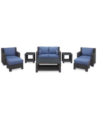 Viewport Outdoor Wicker 8-Pc. Seating Set (1 Loveseat, 1 Club Chair, 1 Swivel Glider, 2 Ottomans, 1 Coffee Table and 2 End Tables), Created for Macy's