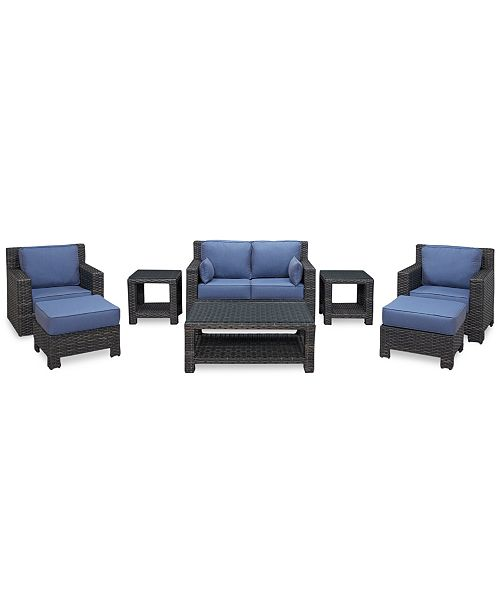 Furniture Viewport Outdoor Wicker 8-Pc. Seating Set (1 Loveseat, 1 Club Chair, 1 Swivel Glider, 2 Ottomans, 1 Coffee Table and 2 End Tables), Created for Macy's