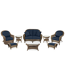 Sandy Cove Outdoor Wicker 8-Pc. Seating Set (1 Loveseat, 1 Club Chair, 1 Swivel Glider, 2 Ottomans, 1 Coffee Table and 2 End Tables) Custom Sunbrella®, Created for Macy's