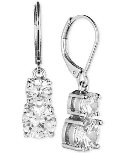 Anne Klein Gold-Tone Double Crystal Drop Earrings