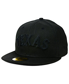 New Era Texas Rangers Black on Black 59FIFTY Cap