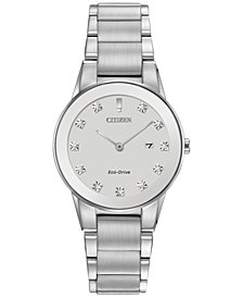 Citizen Women's Eco-Drive Axiom Diamond Accent Stainless Steel Bracelet Watch 30mm GA1050-51B
