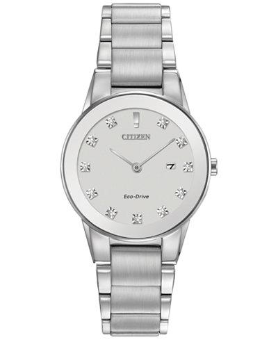 Citizen Women's Eco-Drive Axiom Diamond Accent Stainless Steel Bracelet Watch 30mm GA1050-51B