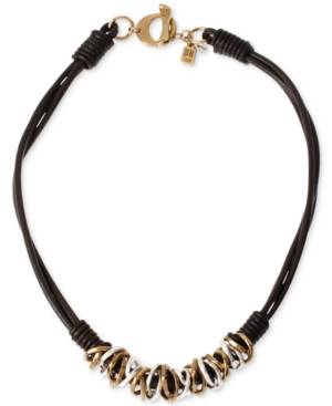 Robert Lee Morris Soho Two-Tone Mixed Metal Ring Leather Frontal Necklace