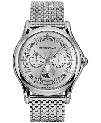 Emporio Armani Men's Swiss Moon Phase Stainless Steel Bracelet Watch 44mm ARS4201