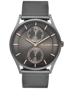 Skagen Men's Holst Smoke-Tone Stainless Steel Mesh Bracelet Watch 40mm SKW6180