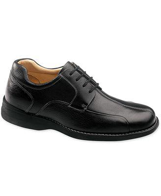 Johnston & Murphy Shuler Causal Dress Bike Toe Oxford (Black Tumbled Grain) Mens Plain Toe Shoes