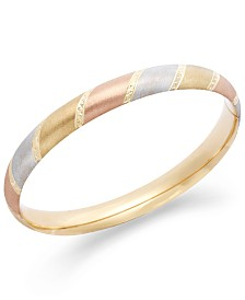 Tri-Tone Diamond-Cut Bangle Bracelet in 14k Gold