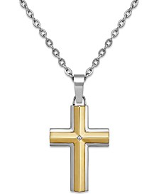 Diamond Accent Cross Pendant Necklace in Stainless Steel and 10K Gold