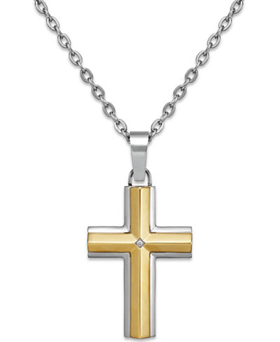 Diamond accent cross pendant necklace in stainless steel and 10k diamond accent cross pendant necklace in stainless steel and 10k gold aloadofball Image collections