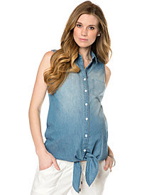 A Pea In The Pod Sleeveless Denim Maternity Shirt