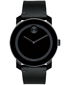 Movado Men's Swiss Bold Black Leather Strap Watch 42mm 3600306