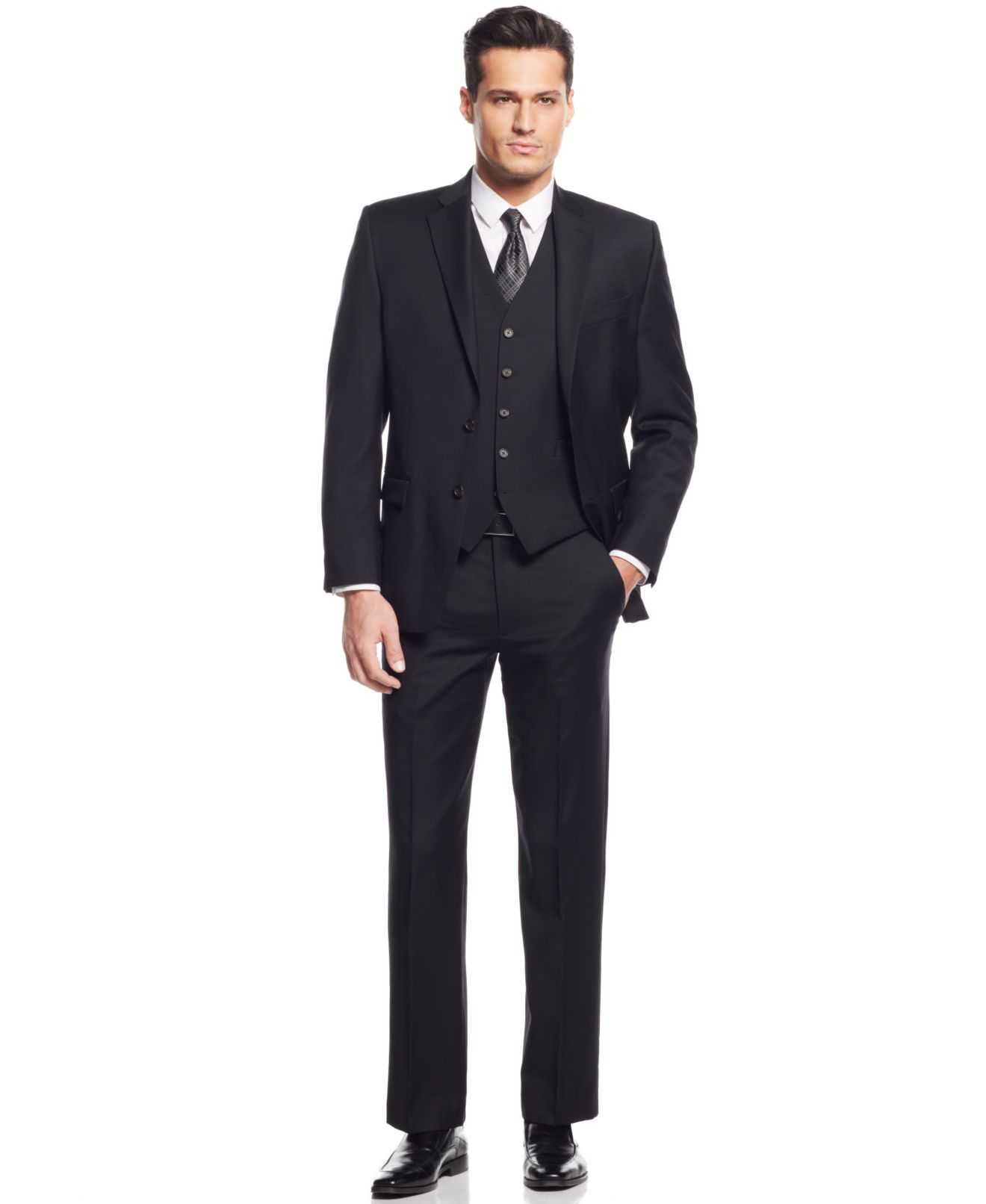 Lauren Ralph Lauren Black Solid Classic-Fit Suit Separates - Suits ...