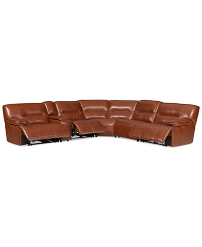 CLOSEOUT! Beckett 6-pc Leather Sectional Sofa with Console and 3 Power Recliners, Created for Macy's