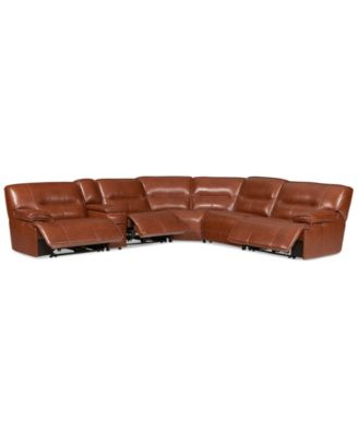 Beckett 6 Pc Leather Sectional Sofa With Console And 3 Power Recliners,