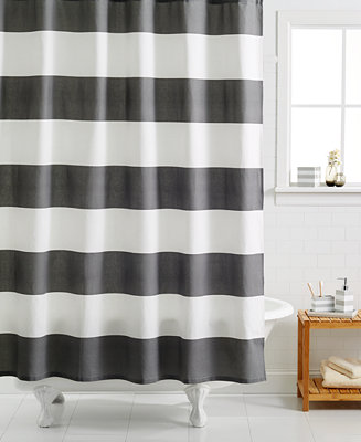 Kassatex hampton striped shower curtain shower curtains for Black and white striped bathroom accessories